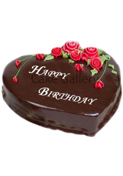 Chocolate Heart Shape Rose Cake