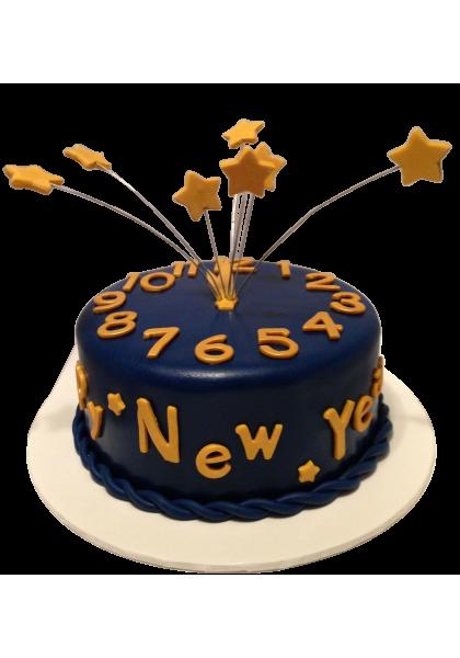 yellow star new year purple cake