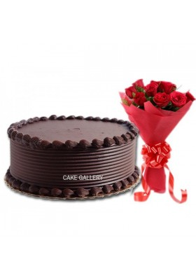 Triple Chocolate Cake Flower Combo