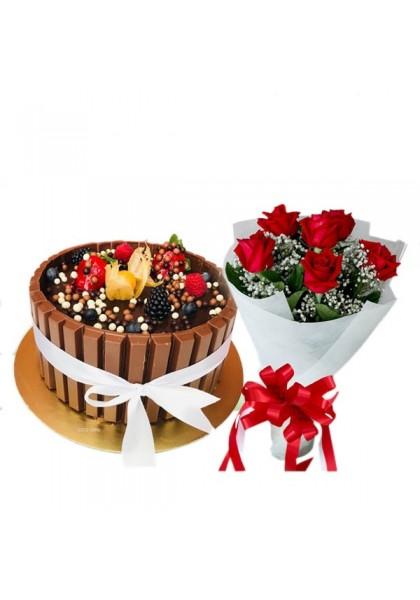 Kitkat Cake Flower Combo